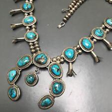 MASSIVE Vtg Native American Navajo Silver Turquoise Squash Blossom Necklace