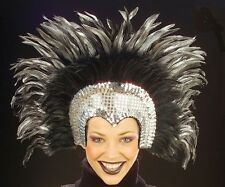 Silver Moulin Rouge Cabaret Mardi Gras Showgirl Burlesque Headdress Fancy Dress