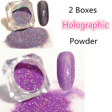 2Boxes Holographic Nail Glitter Powder Dust Holo Laser Manicure Tips Purple Pink
