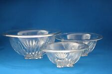 FEDERAL GLASS FOOTED CLEAR STAR PATTERN NEST OF 3 ROLLED RIM MIXING BOWLS