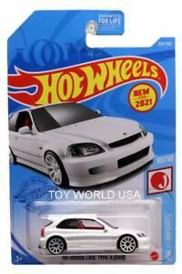 2021 Hot Wheels #214 HW J-Imports '99 Honda Civic Type R (EK9) white
