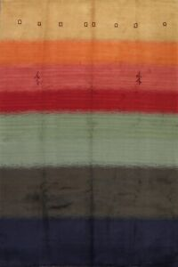 Contemporary Hand-Knotted Gabbeh Oriental Area Rug Abstract Striped Carpet 8x10
