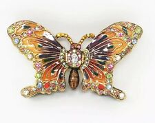Fitz & Floyd Orange Enamel Crystal Rhinestone Butterfly Jewel Trinket Box