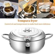 Tempura Fryer with Thermometer Lid Nonstick Stainless Steel Fryer Pot Kitchen