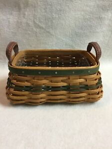 Longaberger (2002) Collectible Miniature Treats Basket with Leather Handles