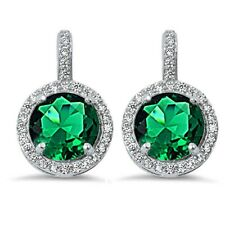 Halo Green Emerald & Cubic Zirconia .925 Sterling Silver Earring