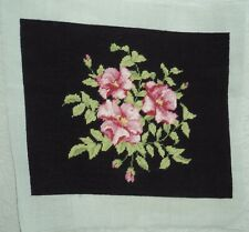 """completed floral Needlepoint on black 16.25"""" x 13"""""""