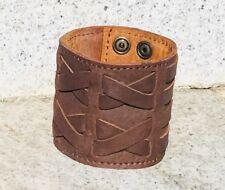 Leder Geflochtenes Armband Manschette Wristband Protector Biker Gothic feeanddave