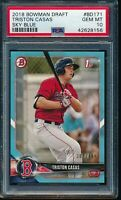 PSA 10 TRISTON CASAS 2018 Bowman Draft Paper SKY BLUE #/499 Rookie RC GEM MINT