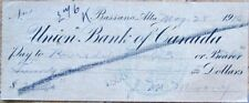 Bassano, Alberta, Canada 1910 Check/Cheque: Union Bank of Canada - Alb