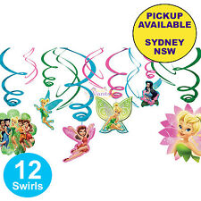 TINKERBELL FAIRIES PARTY SUPPLIES 12pc HANGING SWIRL BIRTHDAY DECORATIONS