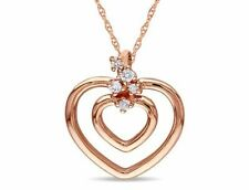 Amour 0.07 CT Brown Diamond TW Heart Pendant With Chain 10k Pink Gold