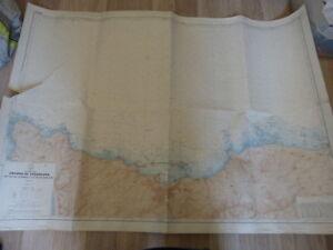 carte hydrographique abords de cherbourg du cap de la hague  (car01)