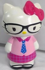 "Hello Kitty piggy bank retro schoolgirl scientific nerd glasses 10"" Sanrio 2014"
