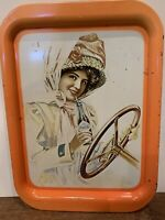 VINTAGE COCA-COLA SERVING TRAY-WOMAN DRIVING A DUSTER-ORANGE-1972