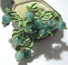 Gorgeous Vintage Style Art Deco Real Agate Stone BEAD Berries Enamel BROOCH Pin