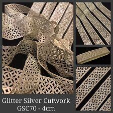 2 Yard Sparkling Silver Glitter Trim Sari Laser Cut work Border SewOn Craft Lace