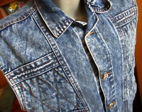 Medium True Vtg 90s BUGLE BOY TIGER JOE ACID WASH DENIM Quilted JEAN JACKET VEST