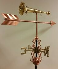 Beautiful unique custom trumpet/horn Copper Weathervane, Complete + mount