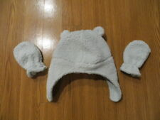 1d33f1e83fa76 NEW BABY WINTER HAT AND MITTENS SET PASTEL GREEN FASTENS UNDER CHIN UNISEX  0-9M