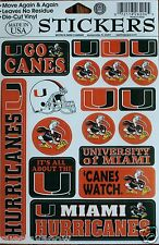 New University of Miami Hurricanes Decal Stickers Sheet Ibis Canes College Decor