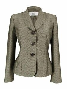 Le Suit Women's Monte Carlo Faux Bois Textured Blazer 4P, Titanium