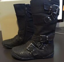 New Boxed GIRLS Grey Textured Leather Look Boots Size 28 (4 - 5 y.o)