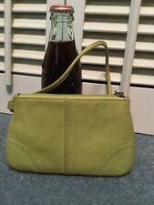 Coach Lime Green Leather Wristlet Wallet Pouch Case