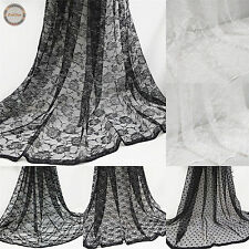 Floral Lace Fabric Tulle Voile Non Stretch Mesh Net Wedding Bridal Dress 150cm W