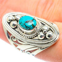 Large Tibetan Turquoise 925 Sterling Silver Ring Size 8 Ana Co Jewelry R52162F