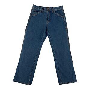 GE Schmidt Work Wear Fleece Lined Mens Carpenter Denim Pants Blue Size 32 x 30
