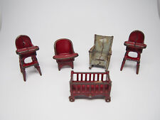 Vintage Cast Iron Doll House Furniture Lot of 5 Pieces Chairs~Crib~Highchairs