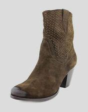 designer VERO SIZE 9.5 WIDE RRP$337 ESPRESSO BROWN SUEDE ANKLE BOOT GOLD TRIM