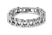 12.5MM Mens Chain Biker Motorcycle 316L Black Silver Stainless Steel Bracelet