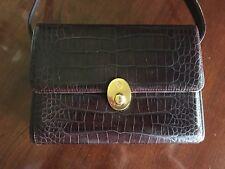 Lladro Vintage Rare Women's Purse Brown Alligator Crossbody Hard Sided Bag