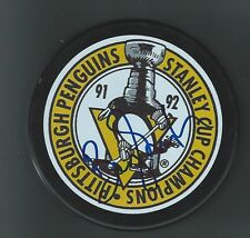 Barry Smith Signed 1992 Stanley Cup Pittsburgh Penguins Puck