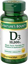 Natures Bounty D3 10,000 Iu Immunity Health Vitamin Supplement 72 Softgels
