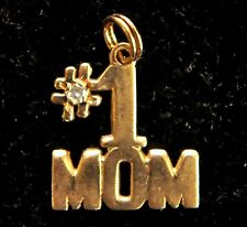 14K Solid Gold and Diamond #1 MOM Pendant