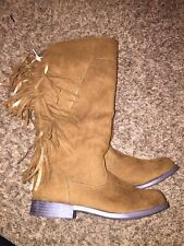 NWOT JUSTICE GIRLS TALL BROWN FRINGE BOOTS SIZE 4
