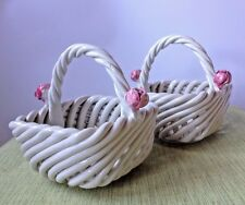 "Woven Braided White Pottery Baskets Rosebuds 3"" Square Italy Wedding Decor Lot 2"