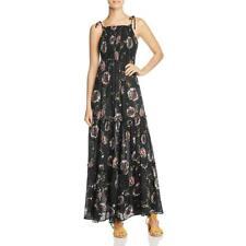 People Womens Black Floral Print Sleeveless Maxi Dress L BHFO 8049