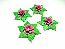 #633D Vintage Rose Connectors Pink Green Cabochons Brass Painted Flowers Leaves