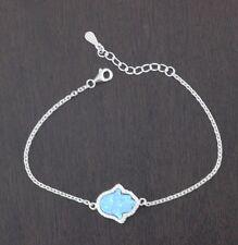 Womens 925 Sterling Silver CZ Hamsa Blue Lab Opal 7inch Chain Bracelet