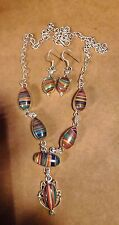 """Necklace & Earrings Set Silver Natural Striped Jasper 18 3/4"""" Trusted Seller"""
