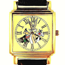 Bugs Bunny Daffy Sylvester, Fossil Gold Tone, Unworn Rare Square Case Watch $129