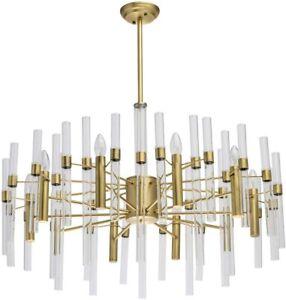 Milo Modern 10 Light Glass Ceiling Pendant Chandelier, Gold Brass