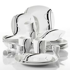 VEWEET 20-Piece Porcelain Dinner Set Ceramic Bowl Dessert Soup Plate Black Lines
