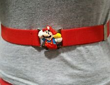 RARE! Vintage Nintendo 1989 Super Mario Buckle Original Elastic Red Belt Youth