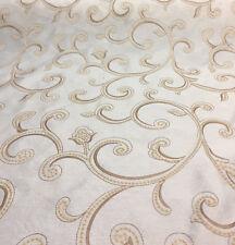 Cream Stiletto Scroll Modern Embroidered Scroll Taffeta Fabric by the yard