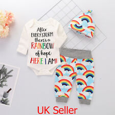 Newborn Baby Girl Boy Rainbow Romper Tops Jumpsuit Pants Hat Outfits Clothes  Set 646546bbfec4